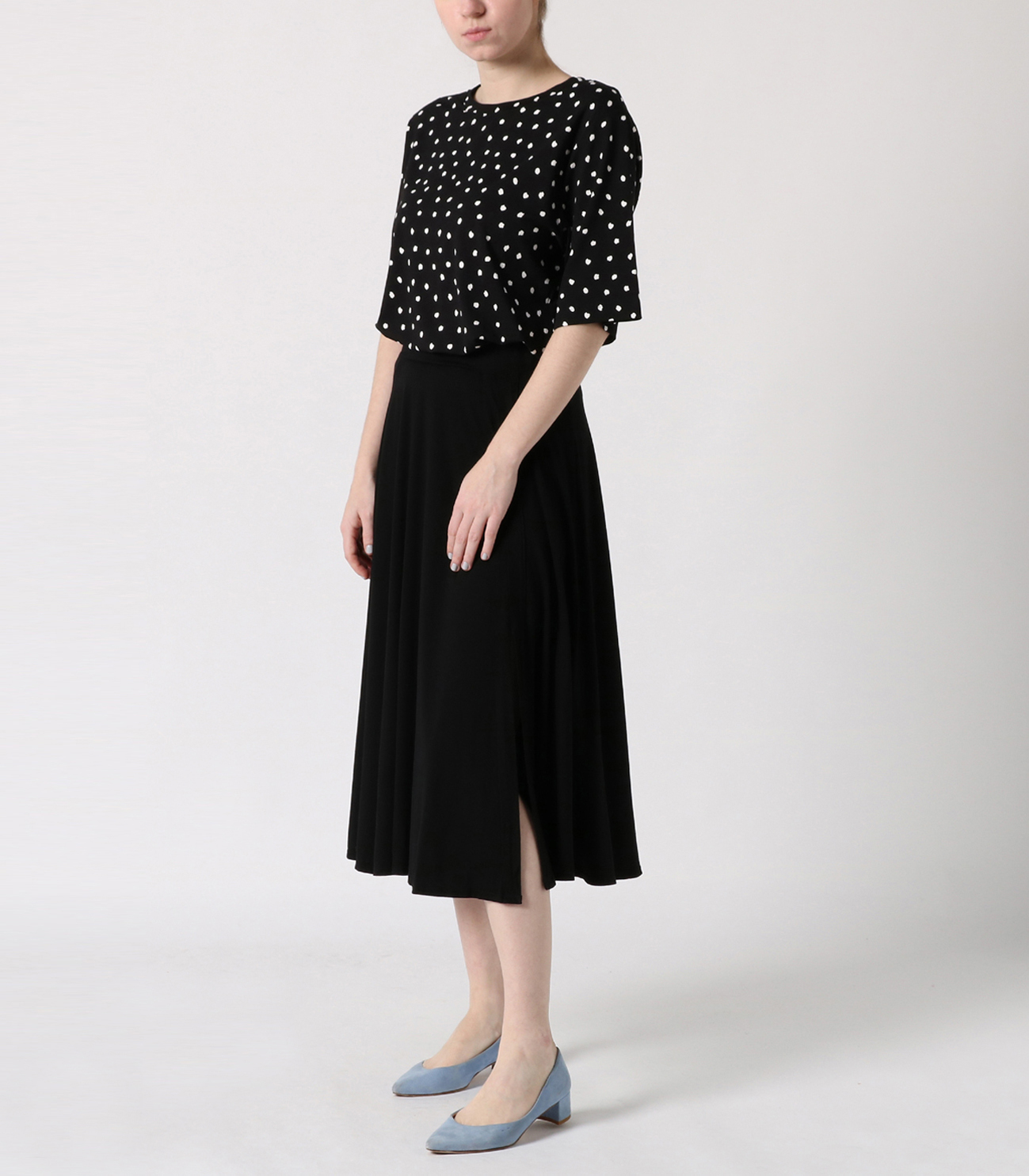 refined jersey flared skirt 詳細画像 black 6
