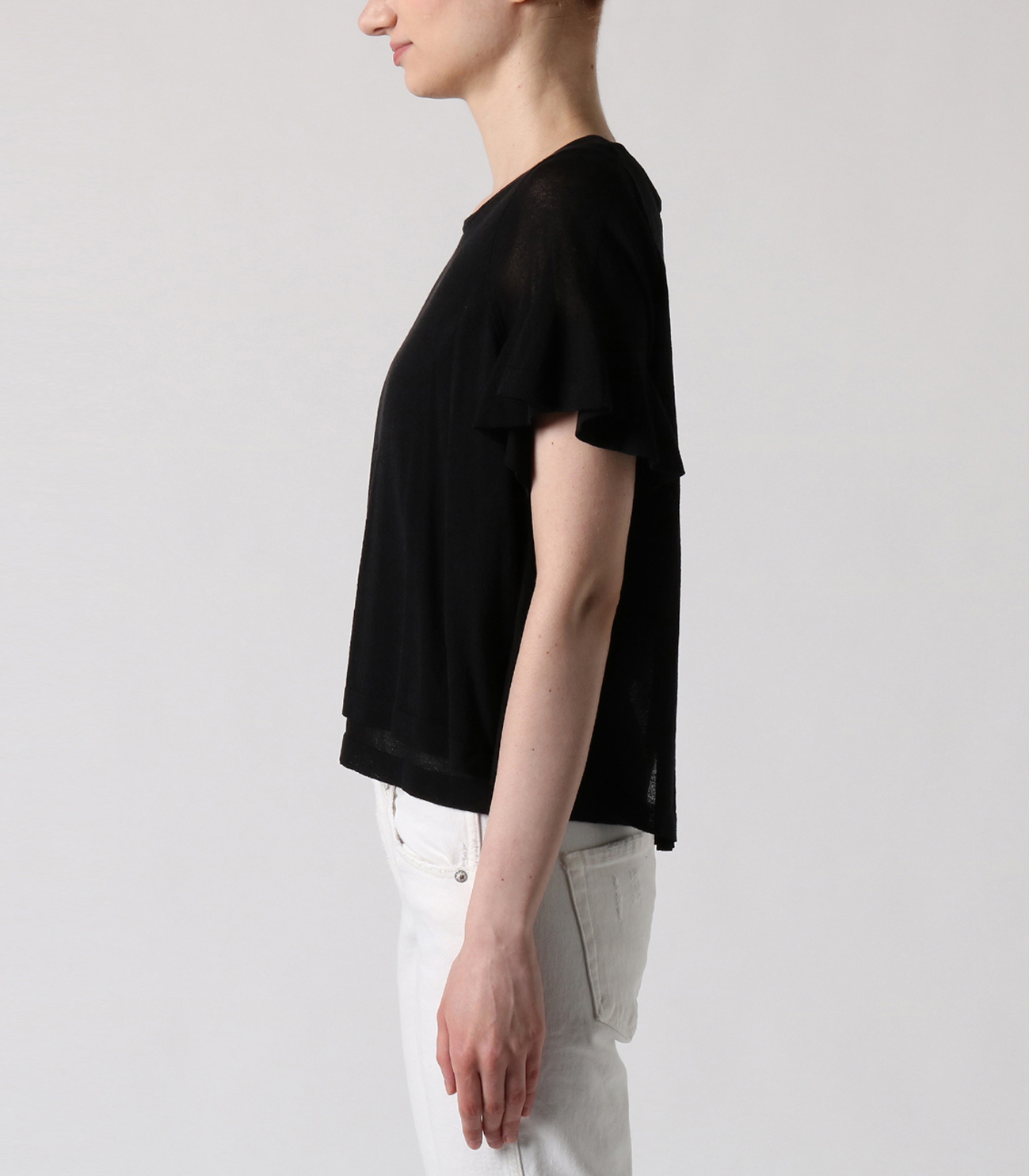 crepe sweater s/s doubled top 詳細画像 black 3