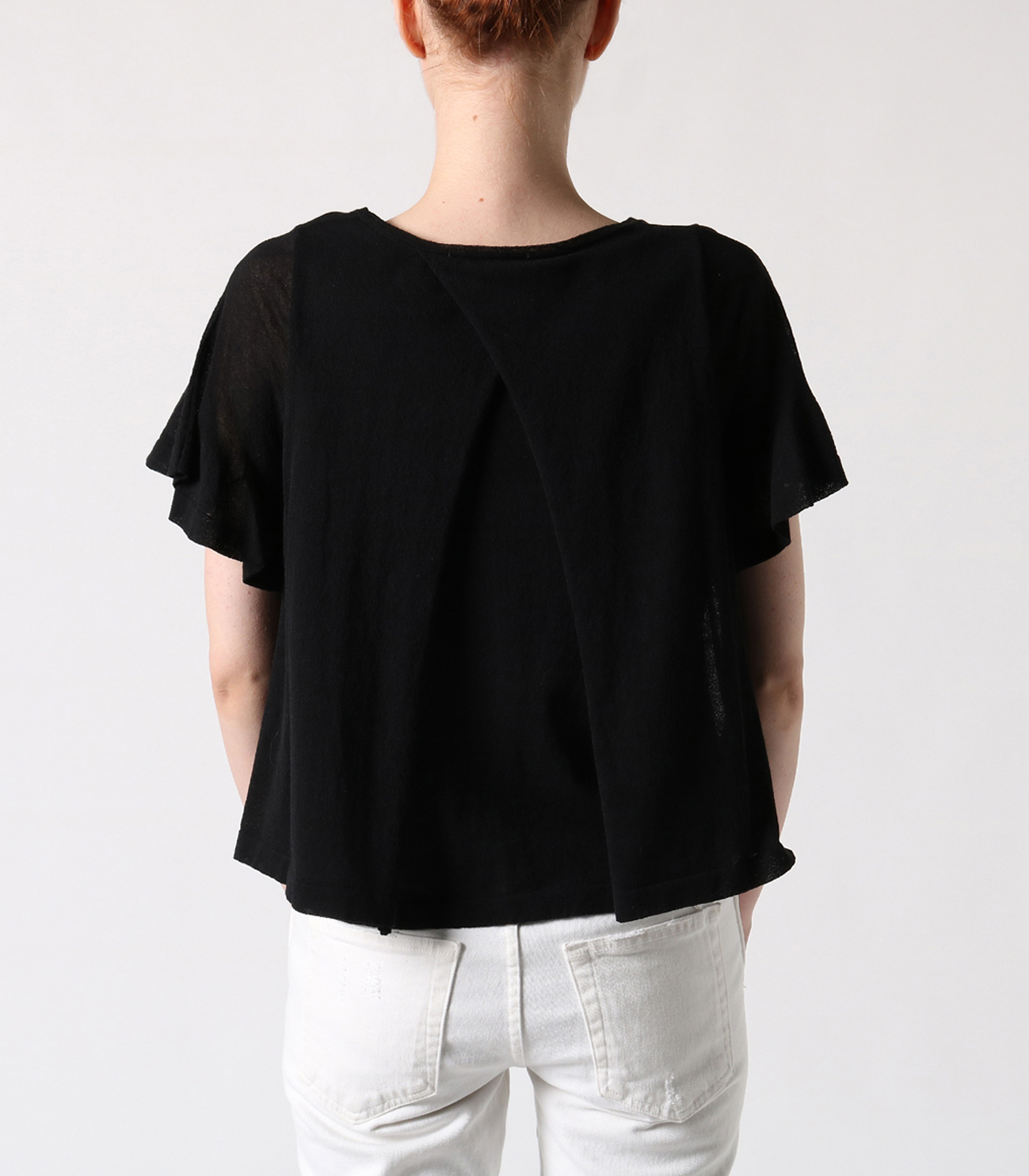 crepe sweater s/s doubled top 詳細画像 black 4