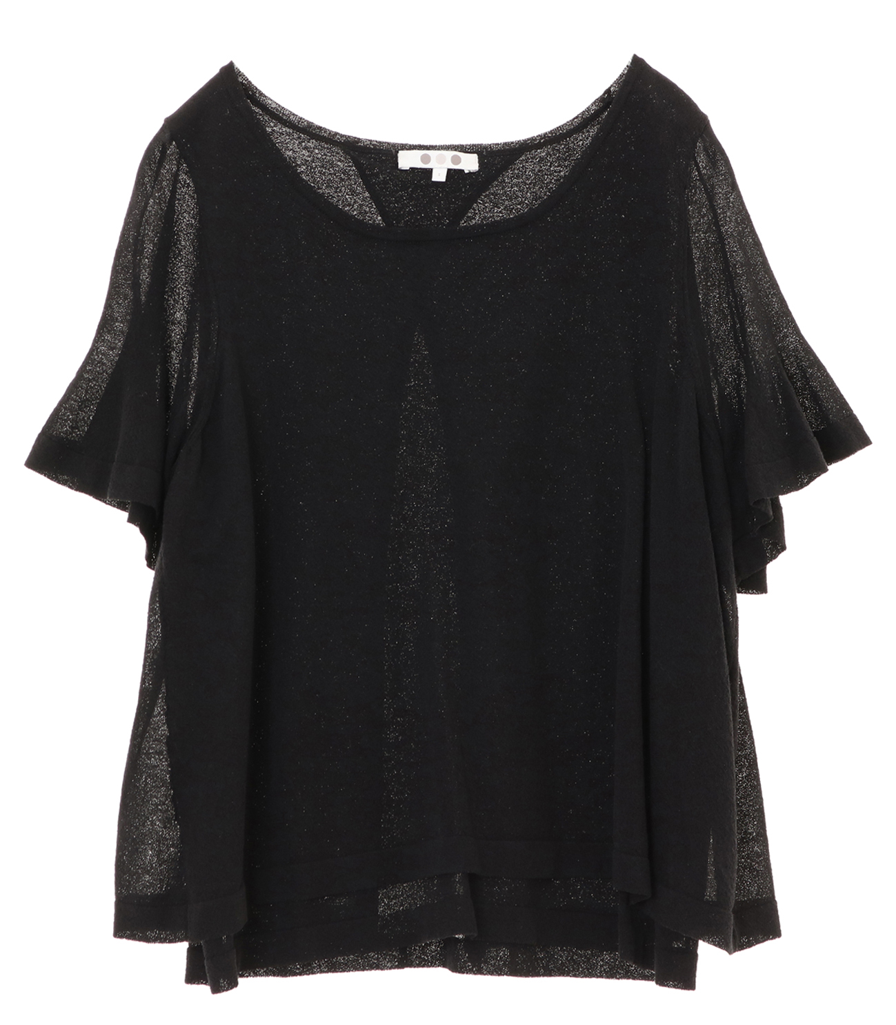 crepe sweater s/s doubled top 詳細画像 black 1