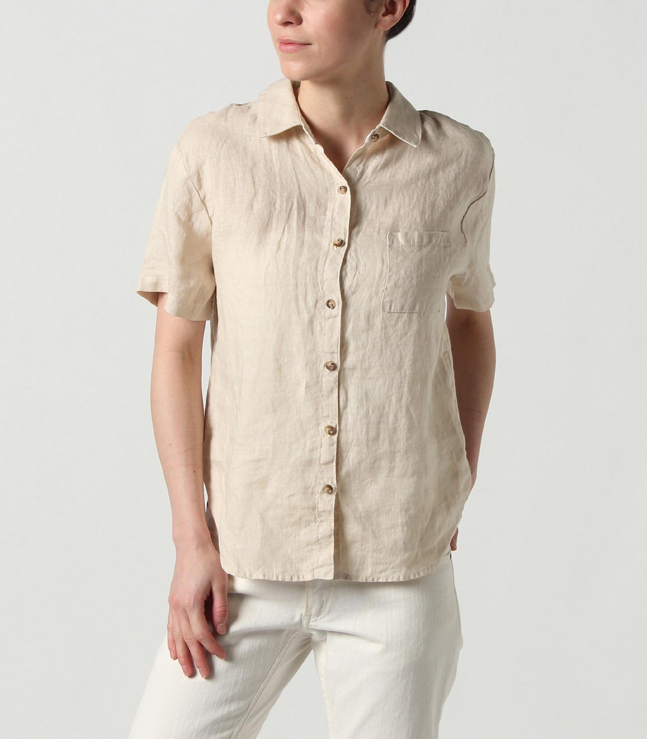 91221d81753b0f lt wt linen button up boxy shirt|スリードッツ オフィシャル ...
