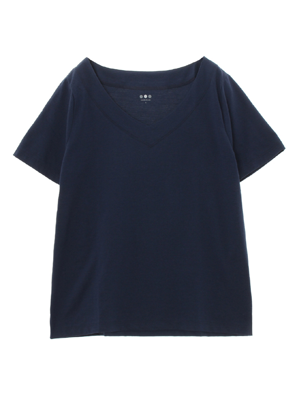 powdery cotton s/s v-neck