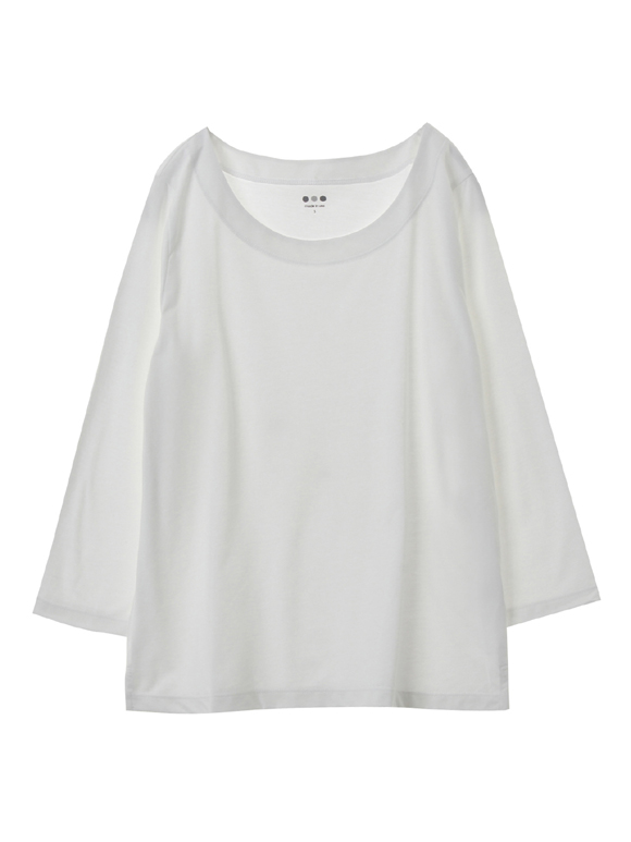 powdery cotton 3/4slv open neck