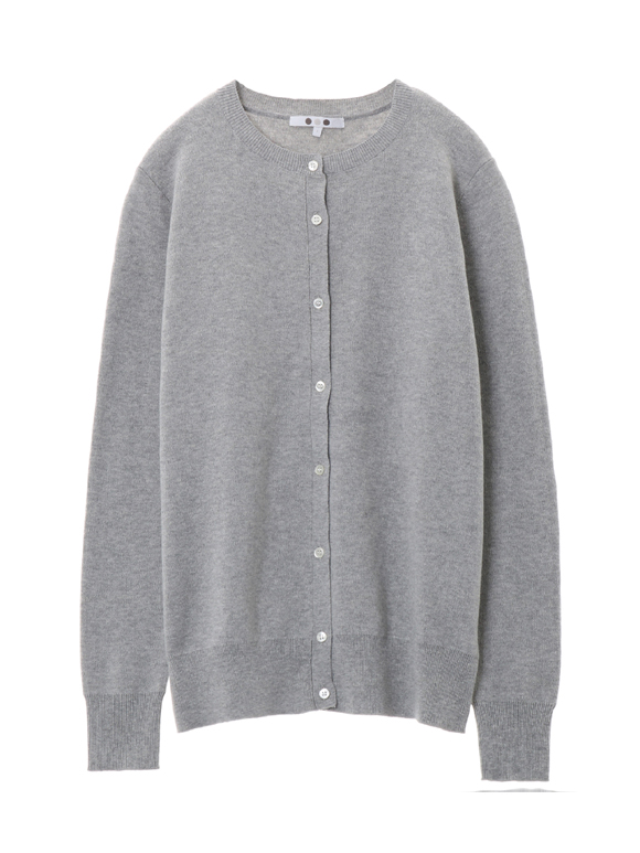 Cotton melange l/s crew cardigan