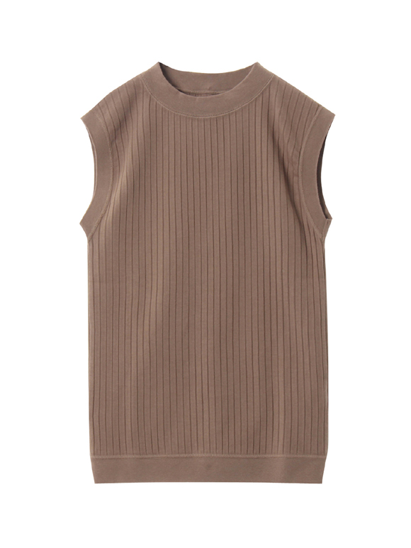 Bouncy rib mock neck tank