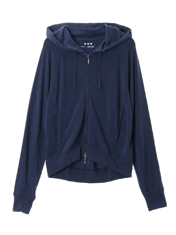 Lyocell cashmere l/s zipup hoody
