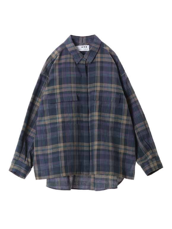 Cotton plaid l/s loose shirt