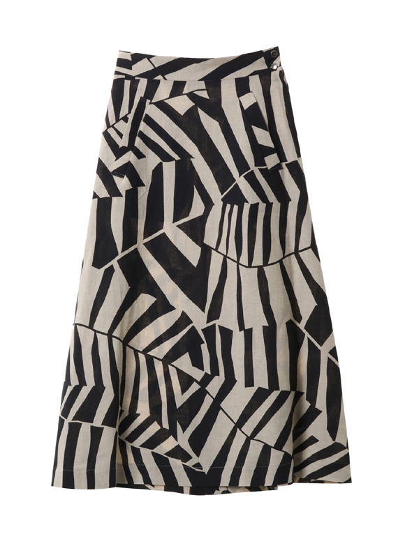 Leef print side button skirt