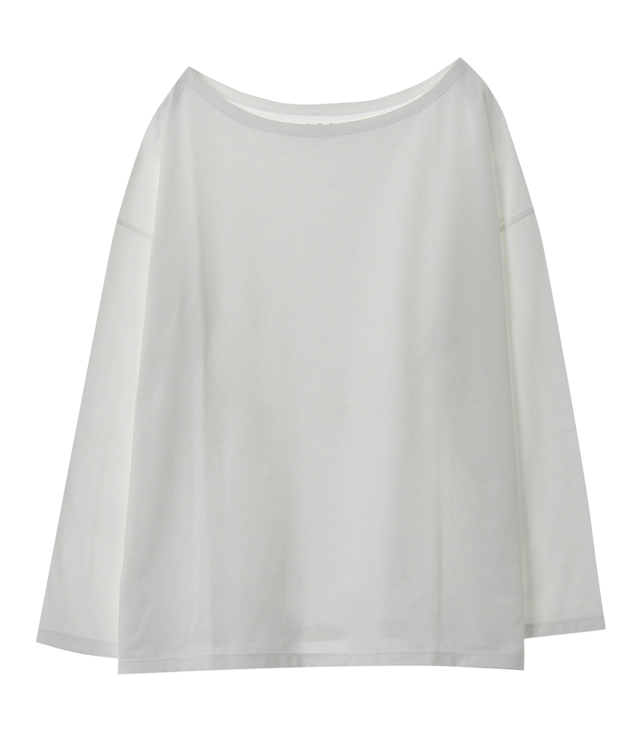 Powdery cotton 3/4wide boat neck 詳細画像 white 1