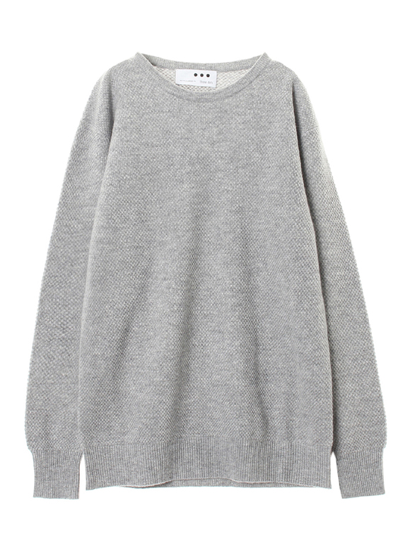 Men's pure cashmere waffle crew