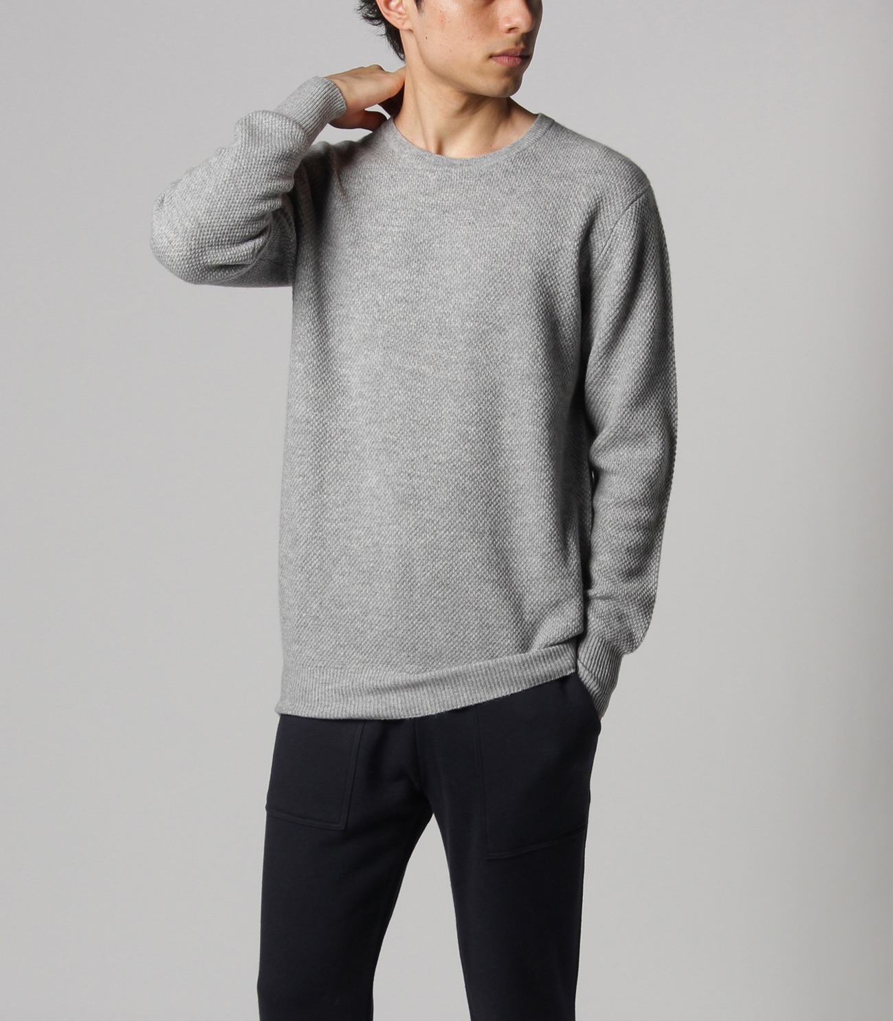 Men's pure cashmere waffle crew 詳細画像 navy 5