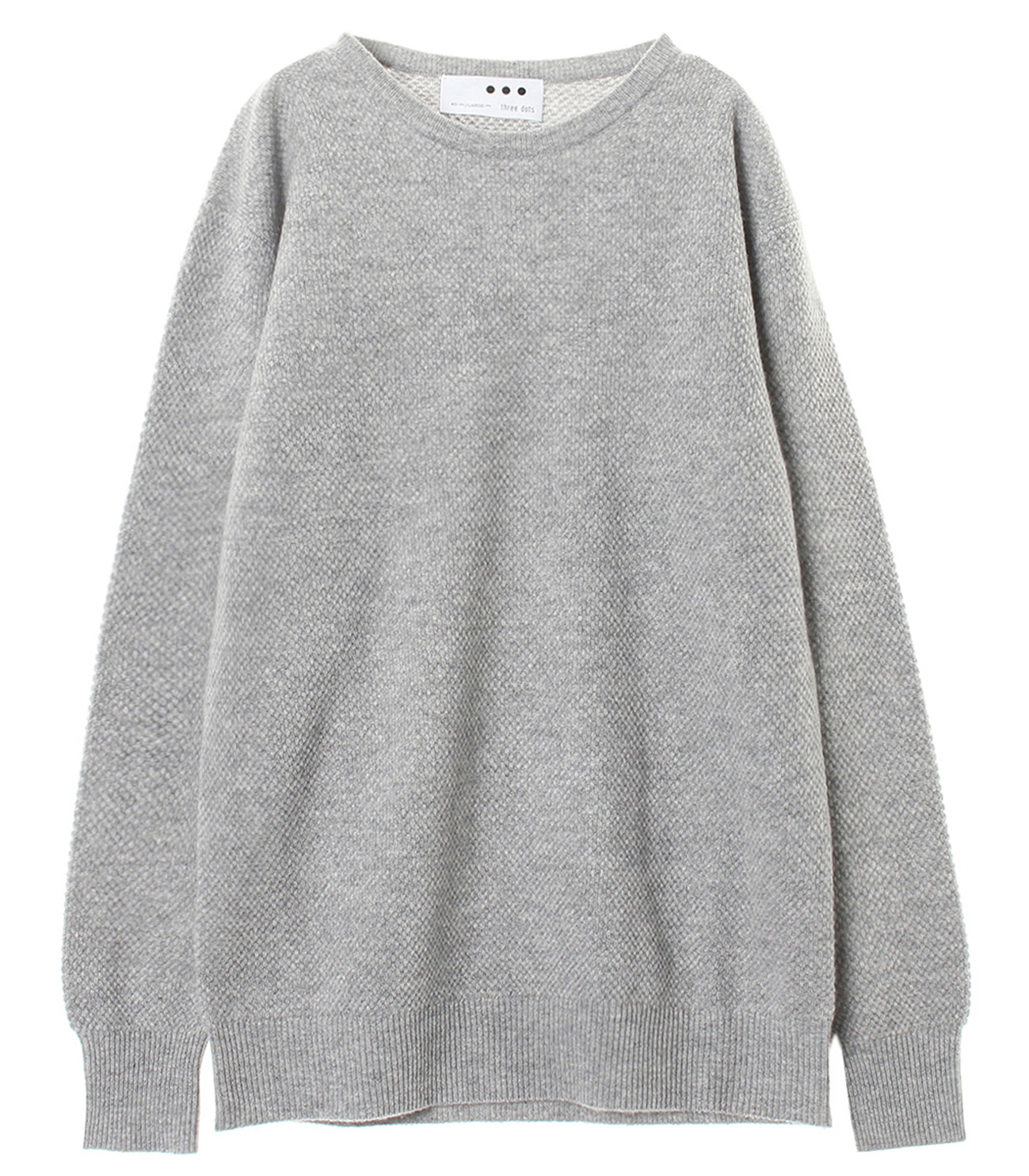 Men's pure cashmere waffle crew 詳細画像 grey 1