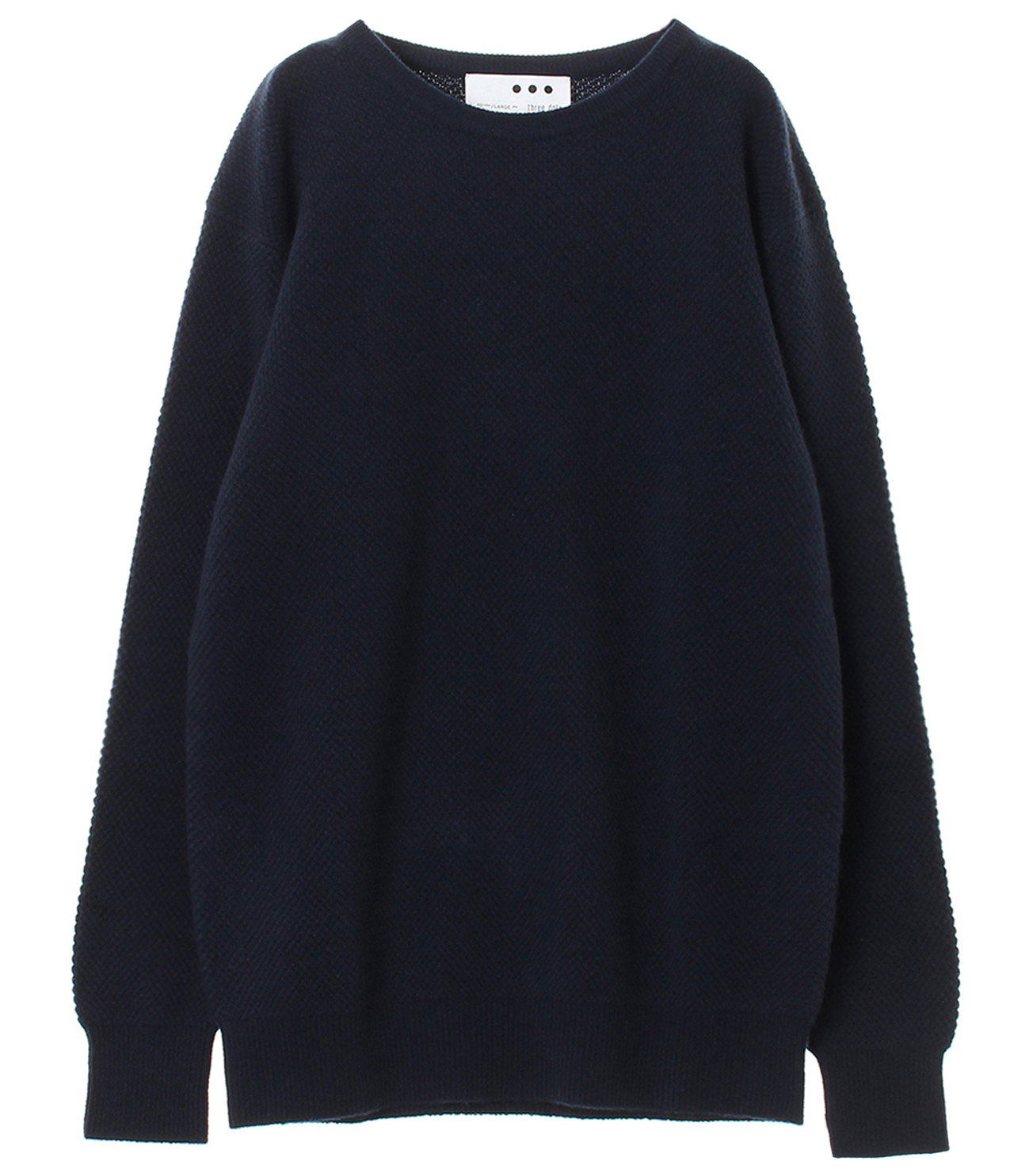 Men's pure cashmere waffle crew 詳細画像 navy 1