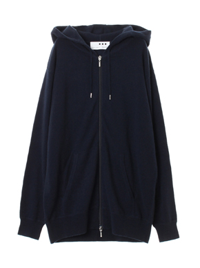 Men's pure cashmere zip parka 詳細画像