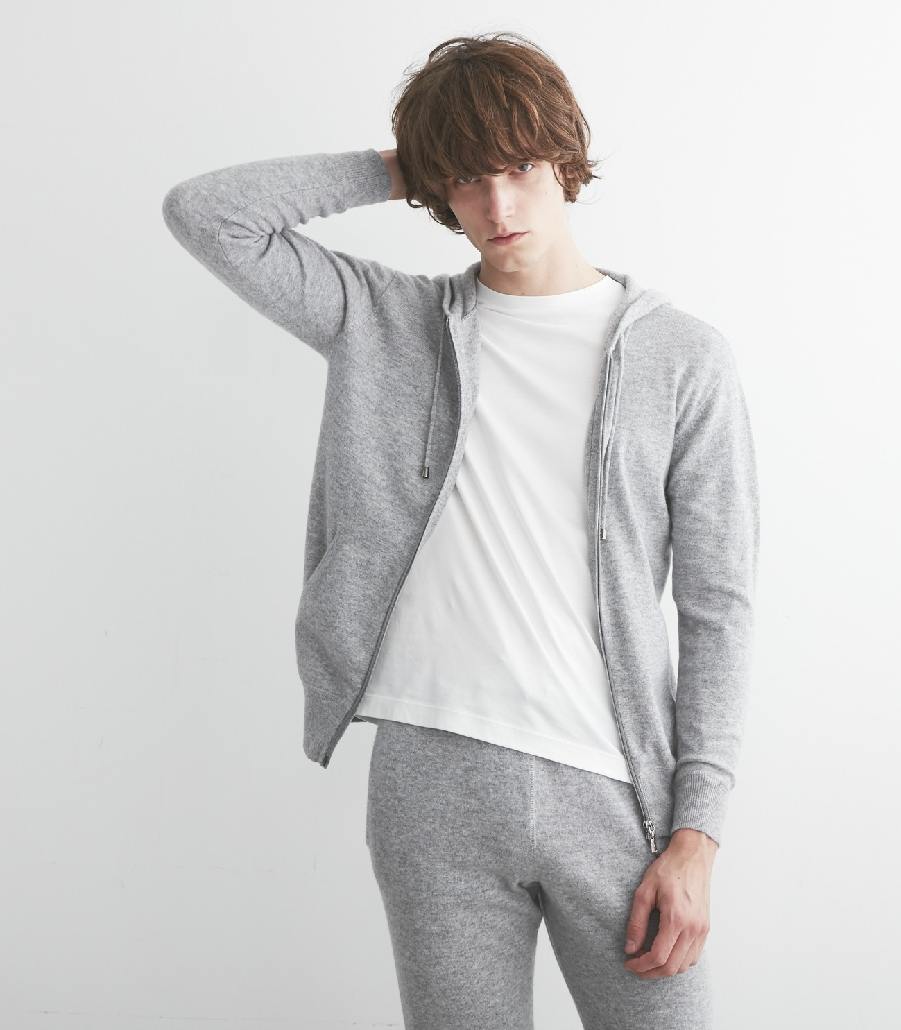 Men's pure cashmere zip parka 詳細画像 grey 6