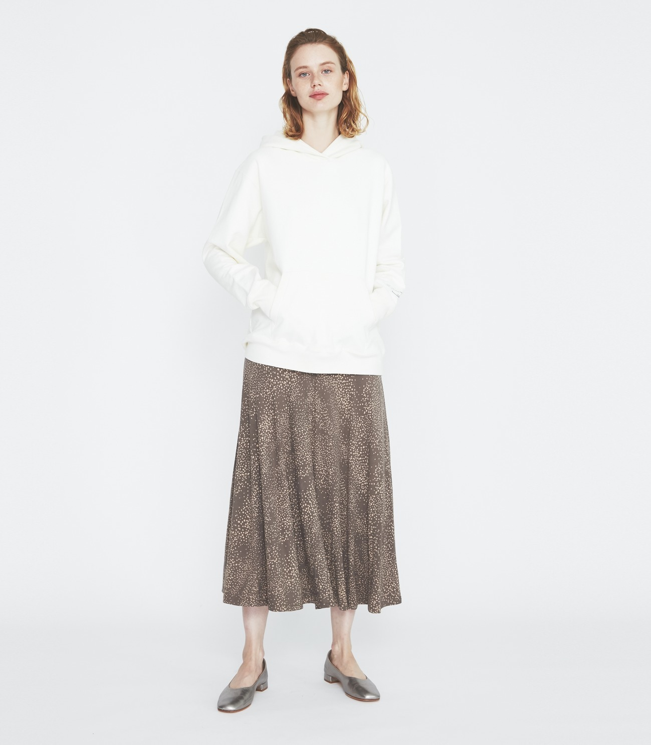 Dot print long skirt 詳細画像 soft brown multi 5
