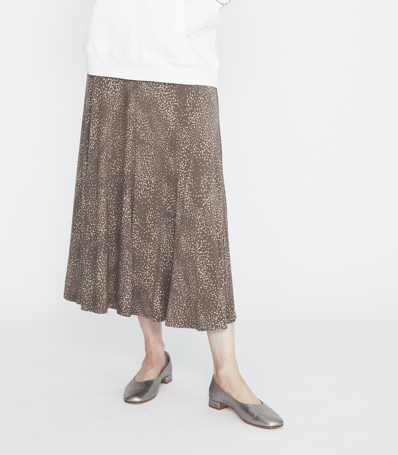 Dot print long skirt 詳細画像 soft brown multi 6
