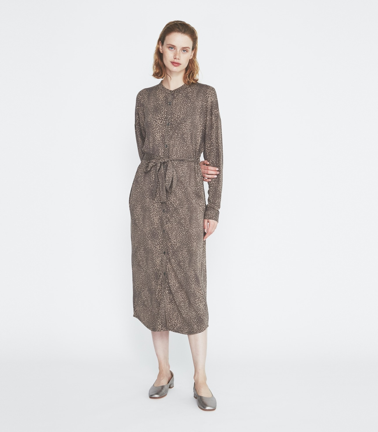 Dot print long shirt dress 詳細画像 soft brown multi 5