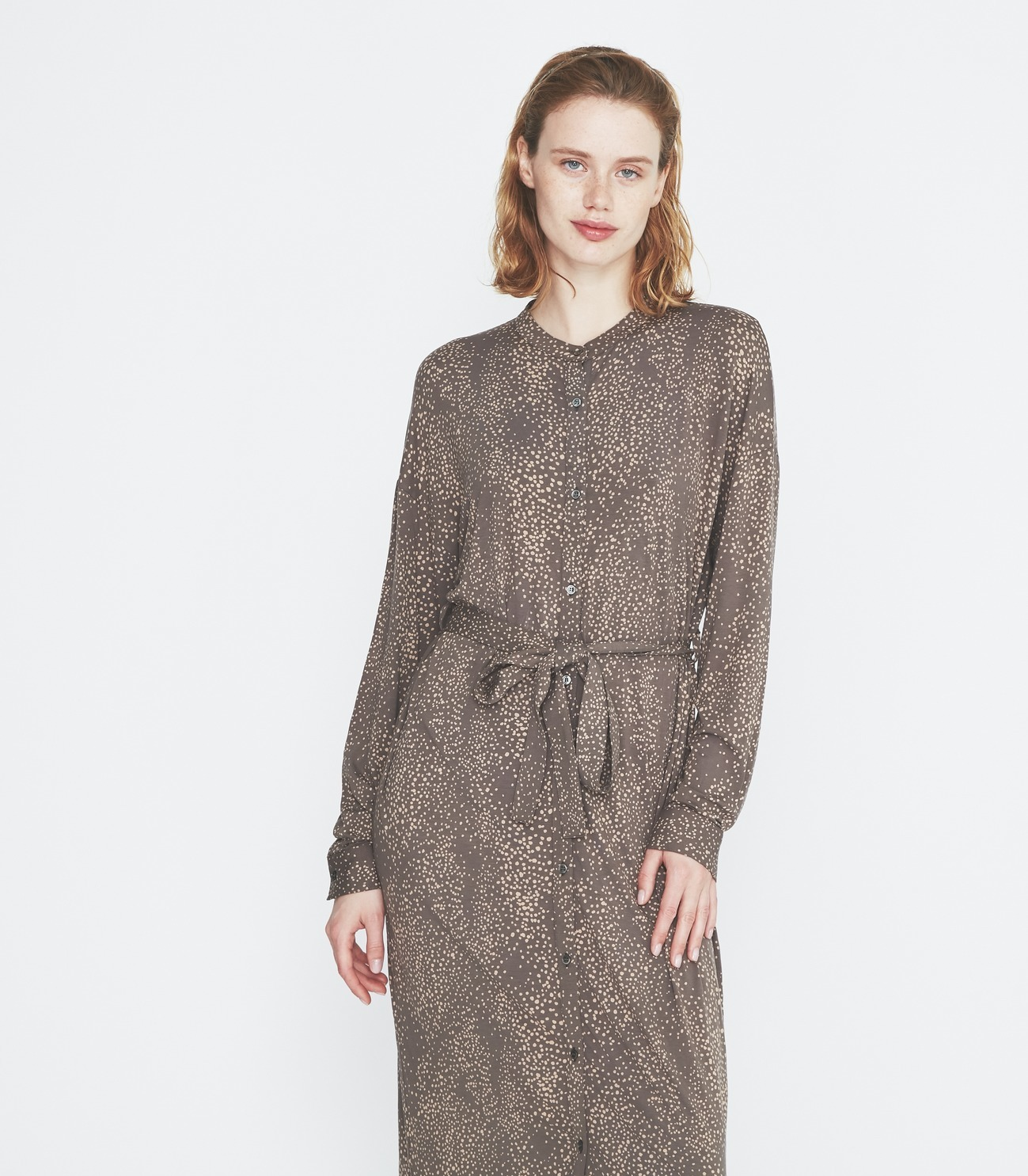 Dot print long shirt dress 詳細画像 soft brown multi 6