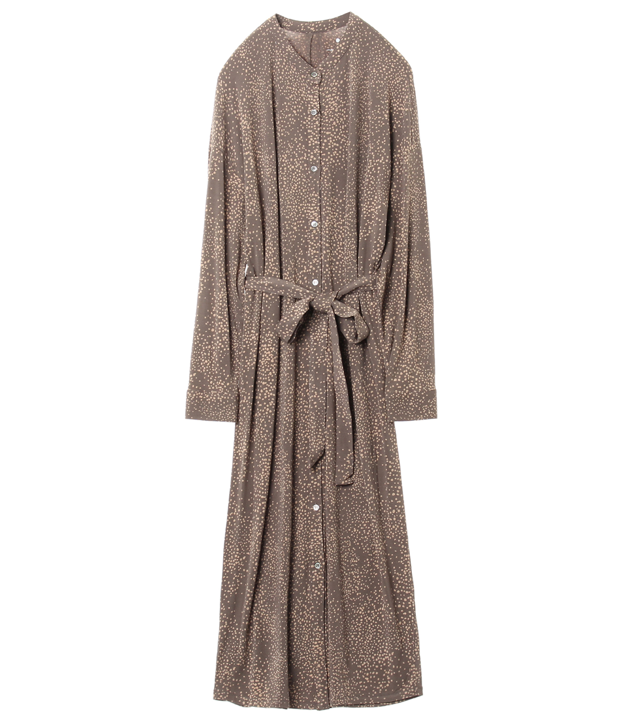 Dot print long shirt dress 詳細画像 soft brown multi 1
