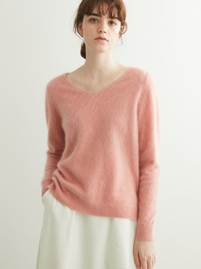 Fluffy cashmere l/s fur v neck 詳細画像