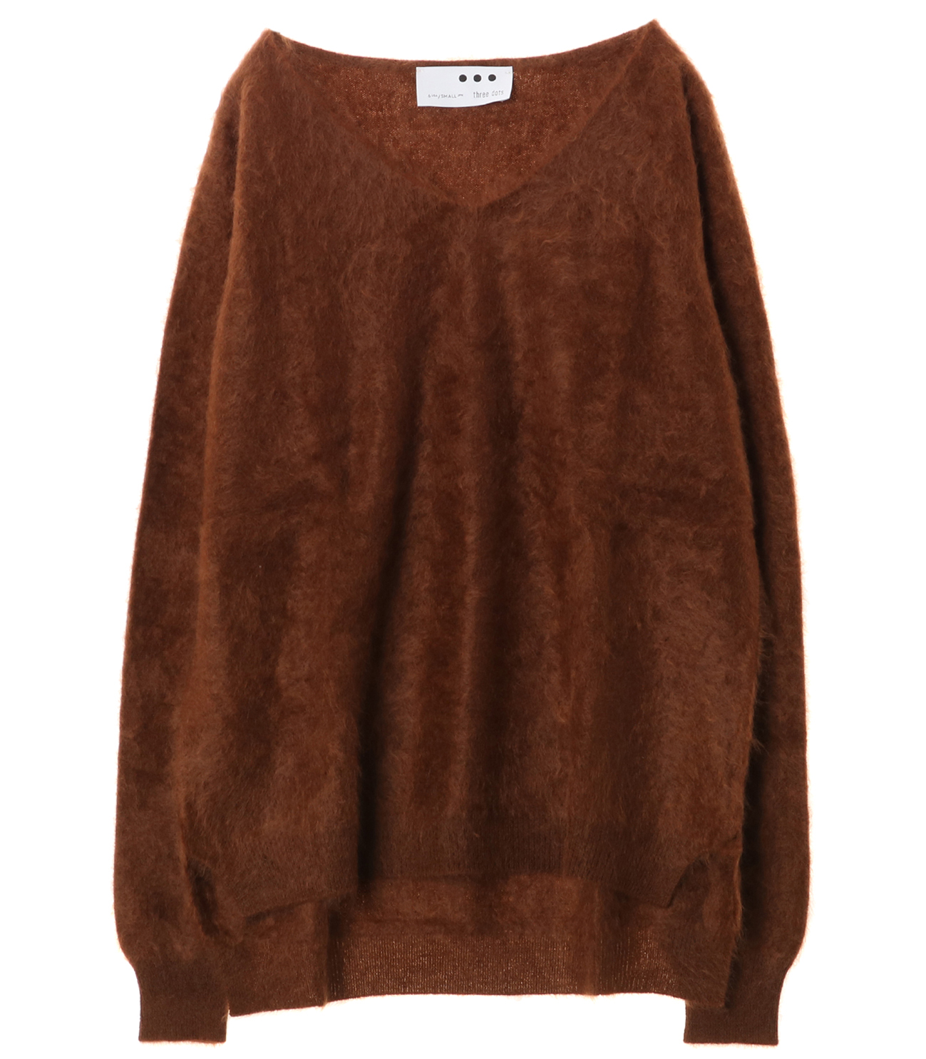 Fluffy cashmere l/s fur v neck 詳細画像 teddy 1