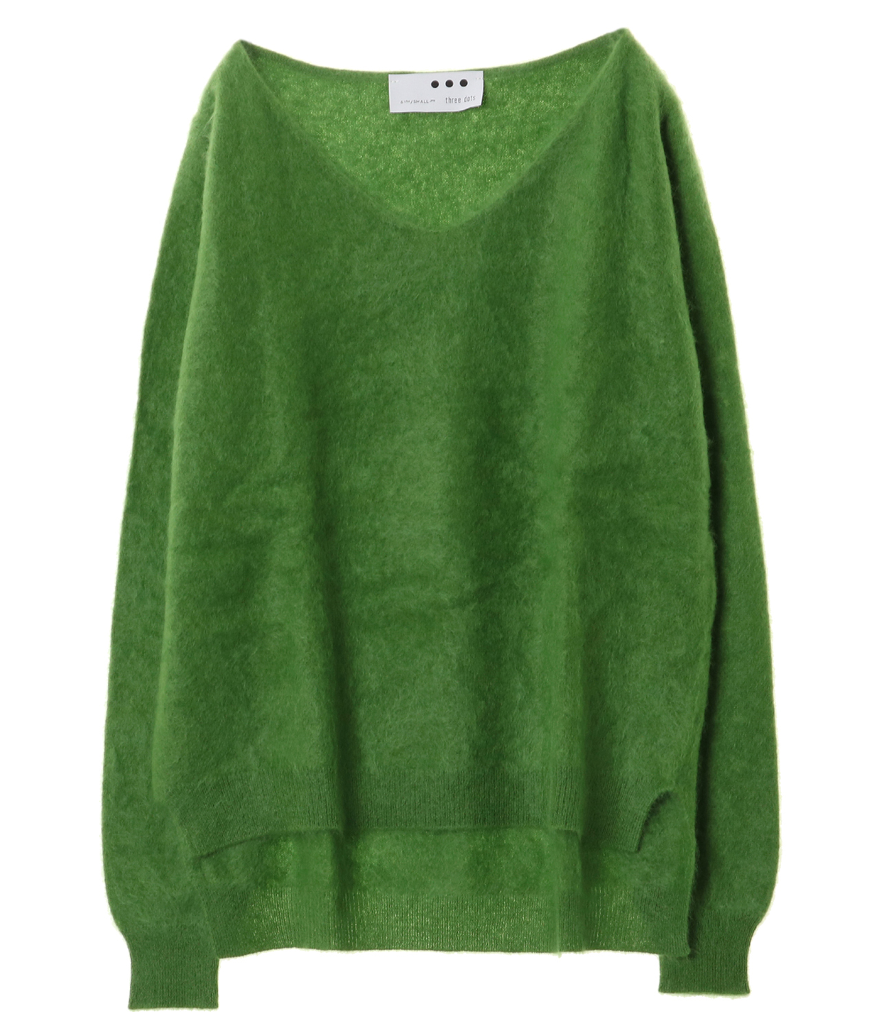 Fluffy cashmere l/s fur v neck 詳細画像 grass 1