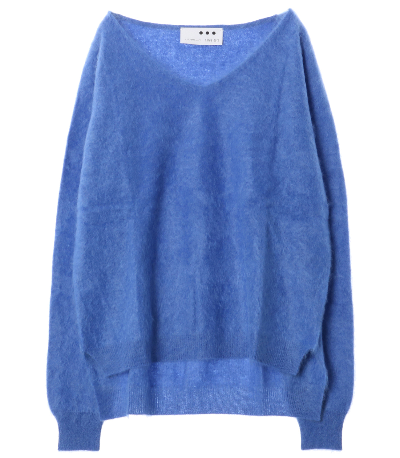 Fluffy cashmere l/s fur v neck 詳細画像 frost blue 1