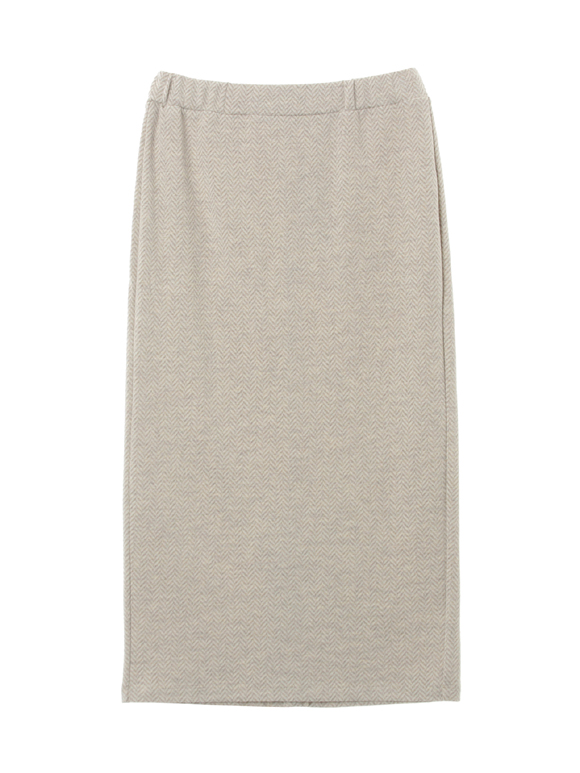 Wool heringbone jersey pencil skirt