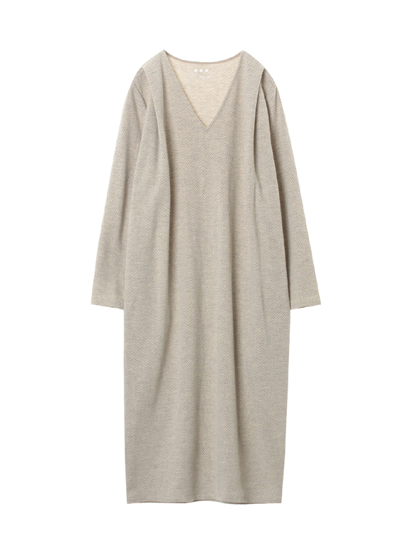 Wool heringbone jersey l/s dress