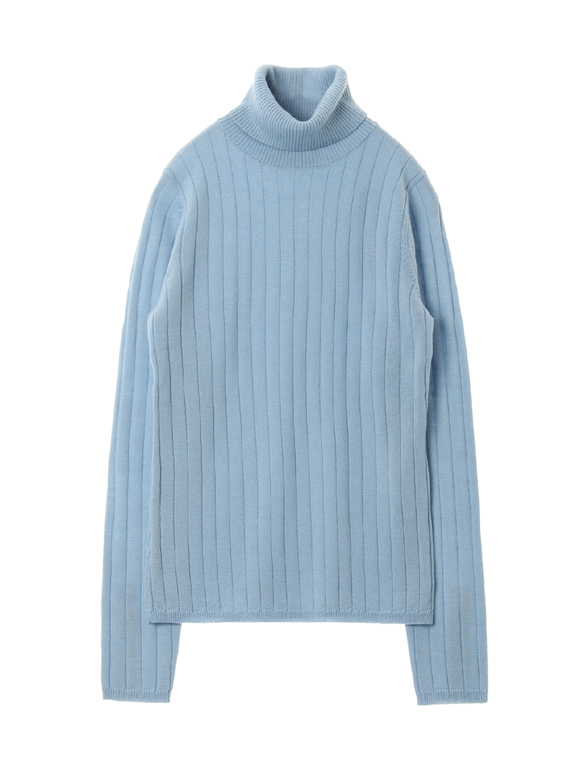Wool rib l/s turtle neck top