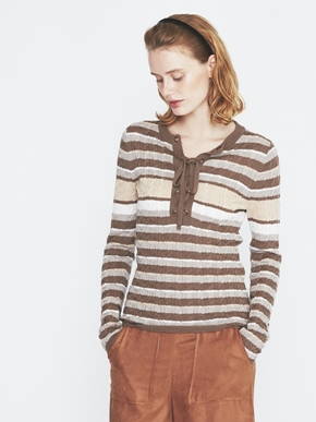 Wool rib cable front tie top 詳細画像
