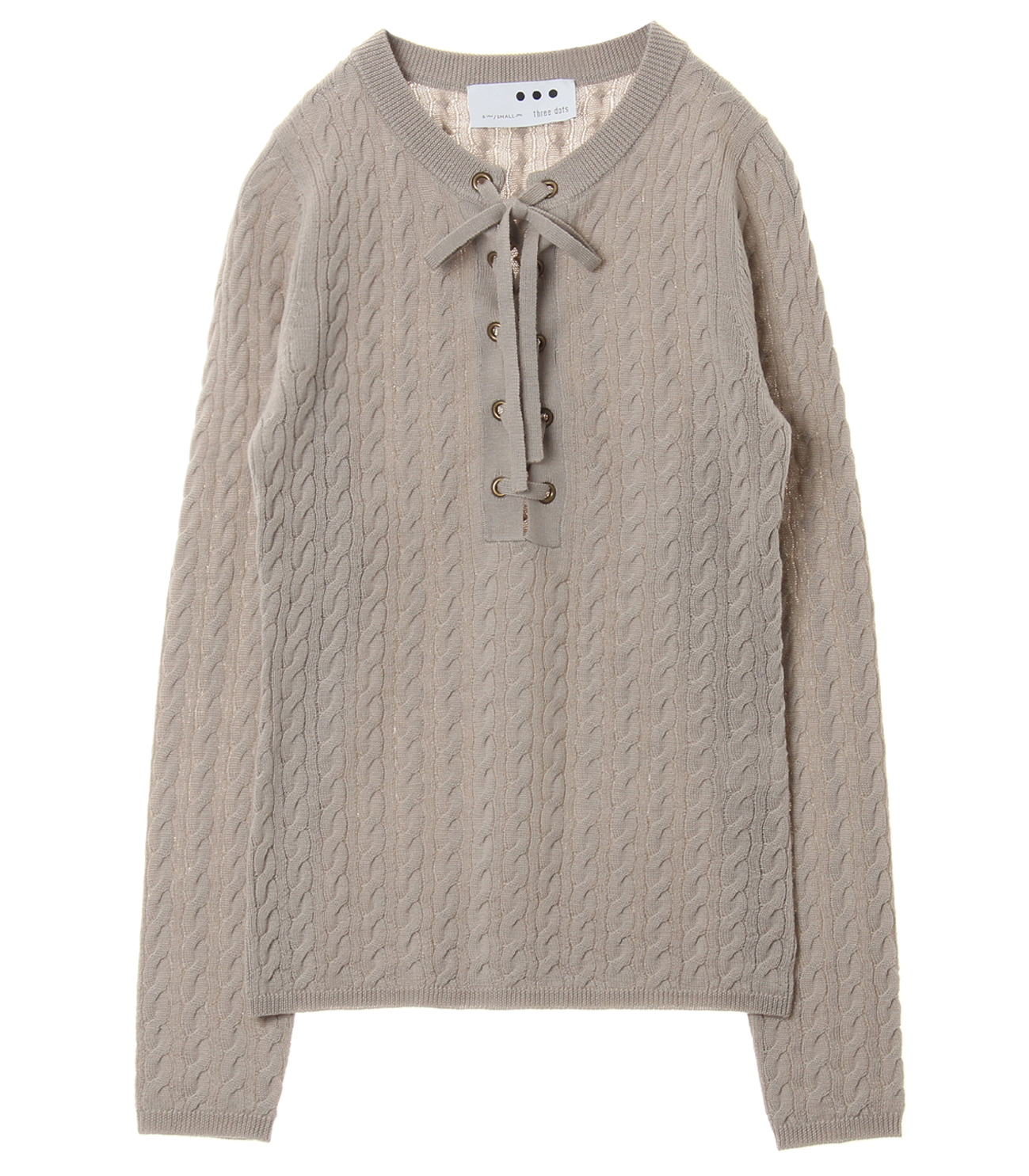 Wool rib cable front tie top 詳細画像 mocha 1