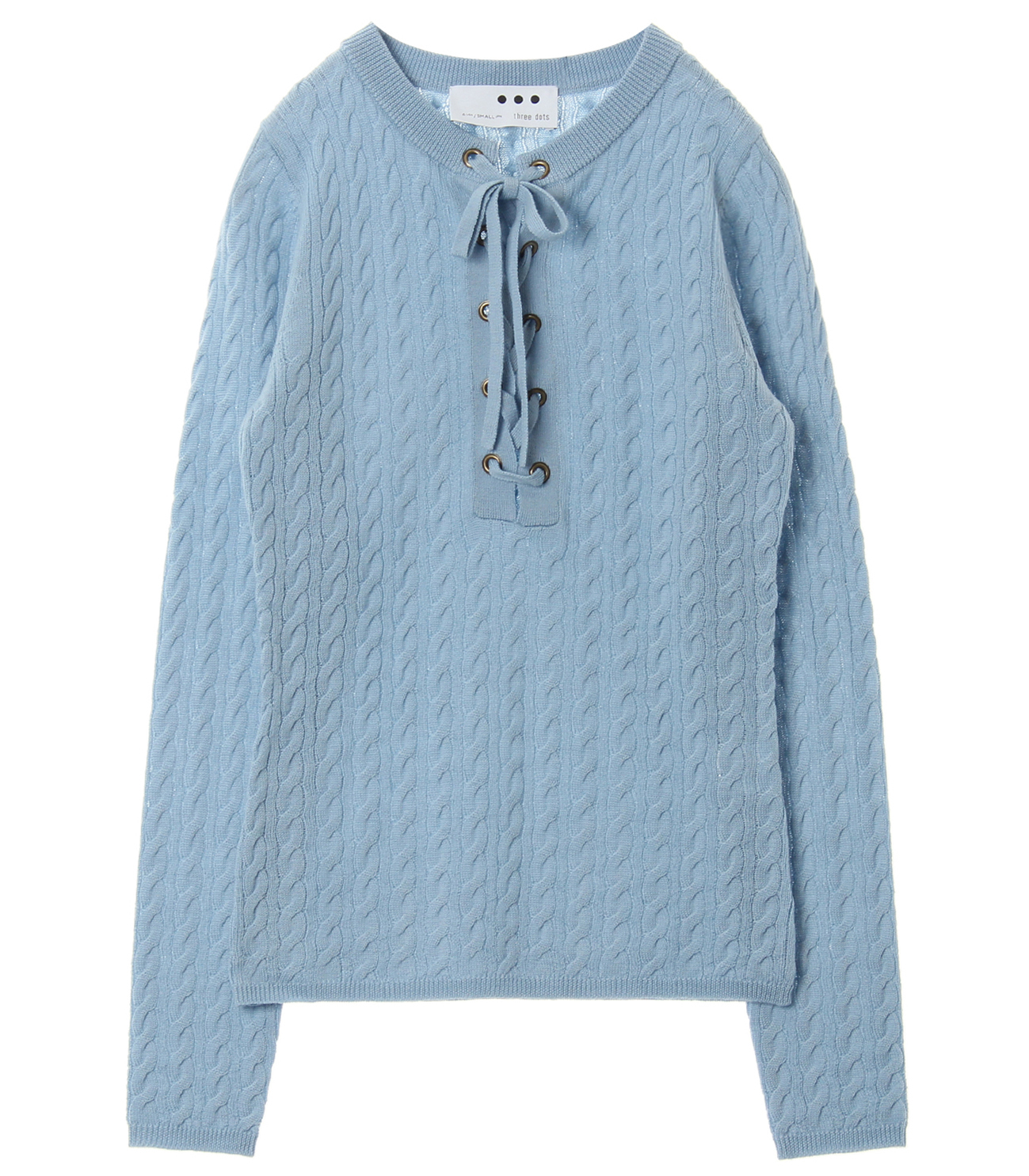 Wool rib cable front tie top 詳細画像 blue 1