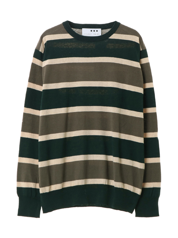 Men's 14G border l/s crew neck