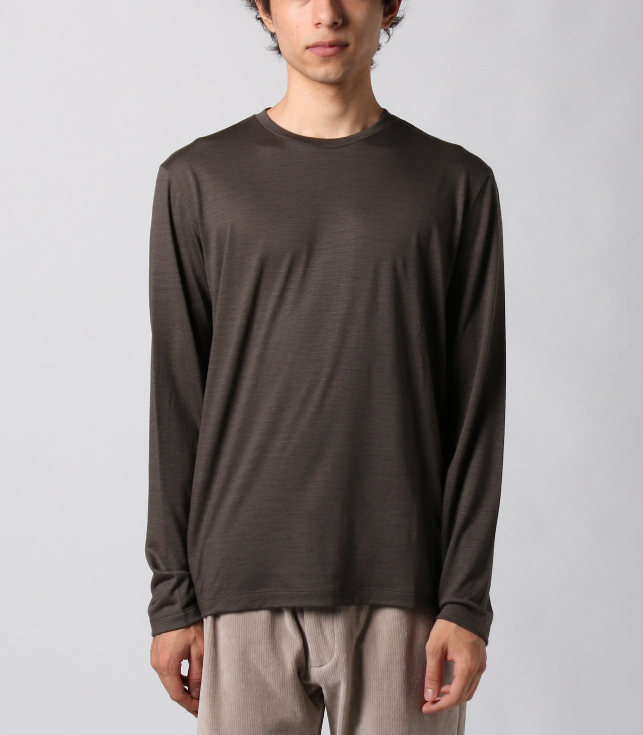 Washable silky dry jersey crewneck 詳細画像 brown 2