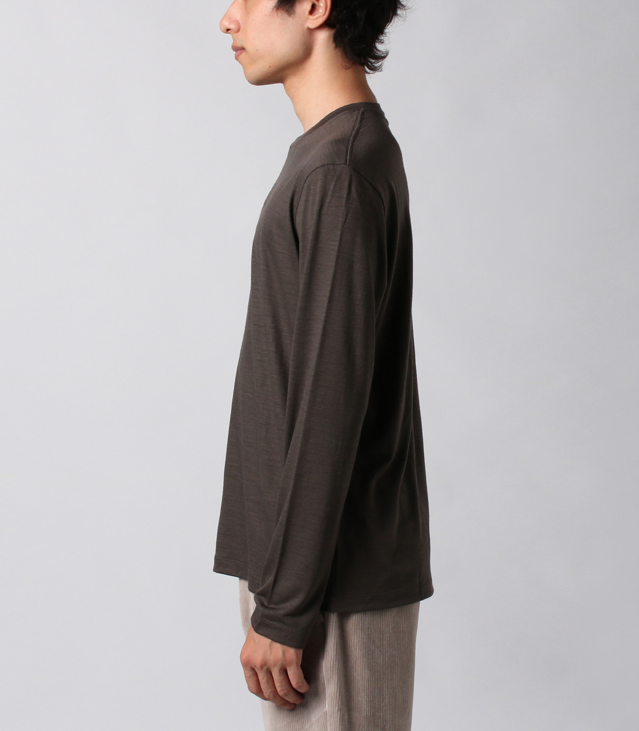 Washable silky dry jersey crewneck 詳細画像 brown 3