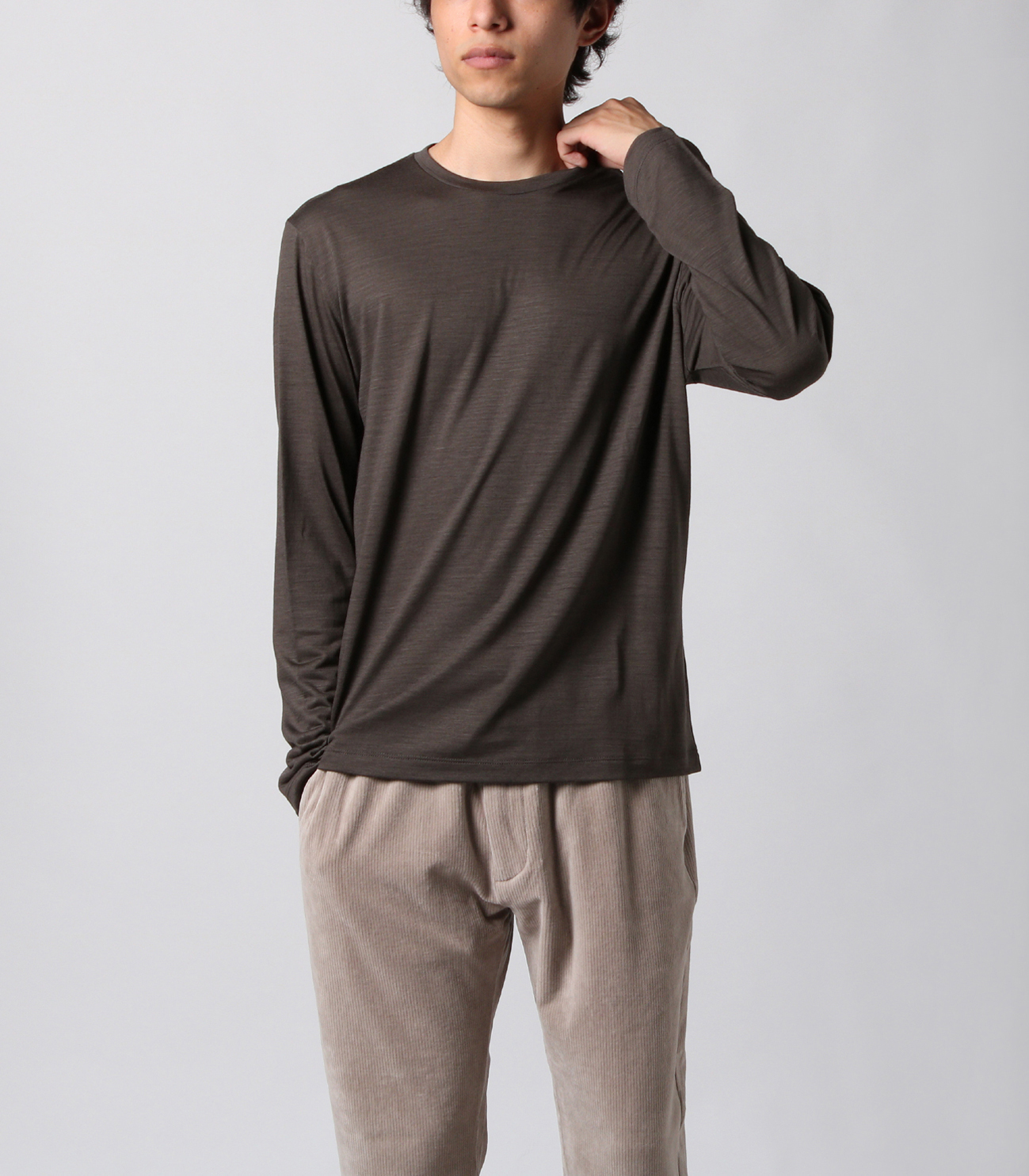 Washable silky dry jersey crewneck 詳細画像 brown 6