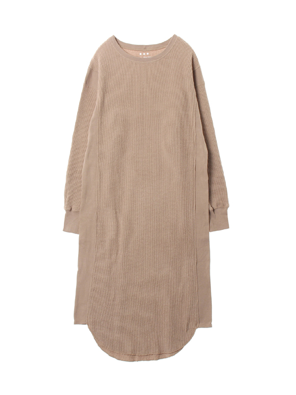 Double brushed waffle l/s dress