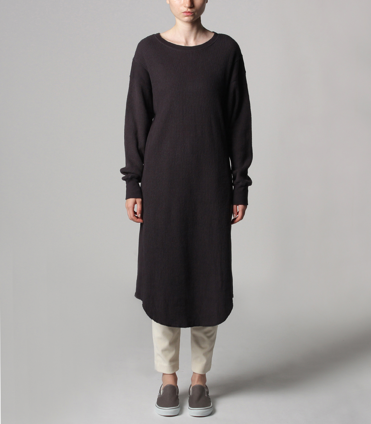 Double brushed waffle l/s dress 詳細画像 black 2