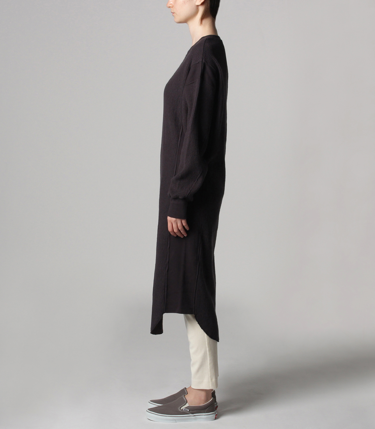 Double brushed waffle l/s dress 詳細画像 black 3