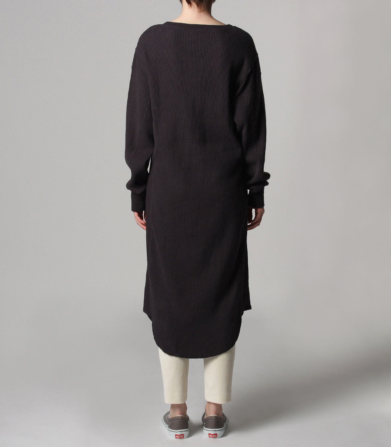Double brushed waffle l/s dress 詳細画像 black 4