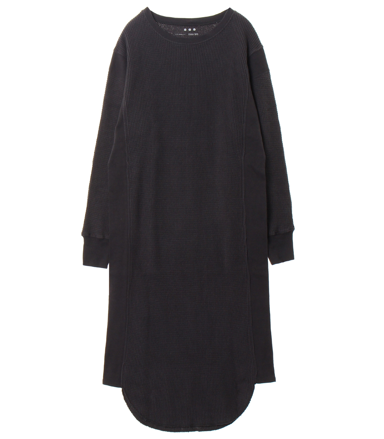 Double brushed waffle l/s dress 詳細画像 black 1
