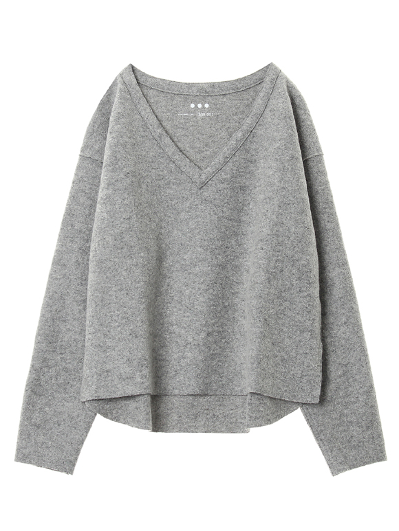Wool ring jersey l/s v neck top