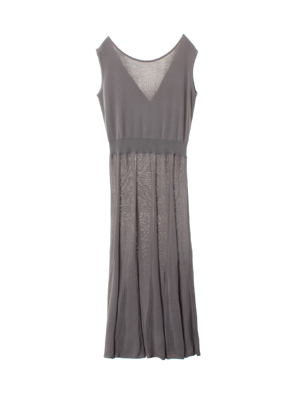 Sheer pleats 2way cashcout dress