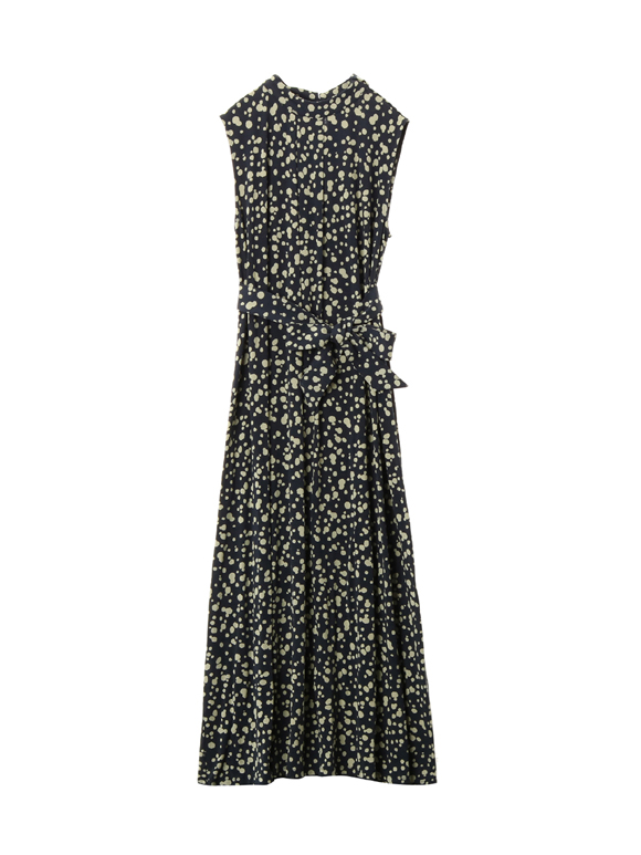 Dot print long w/tie dress