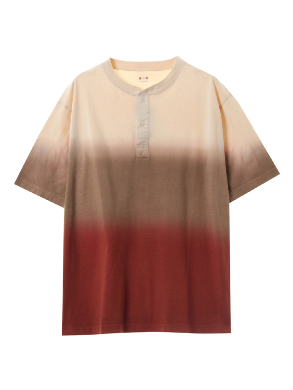 Men's gradation dye s/s henley