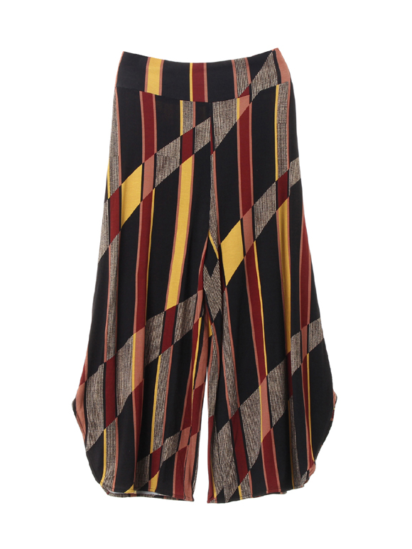 Stripe mix print wide pant