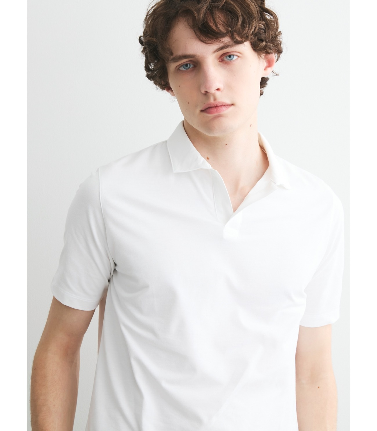 Men's powdery cotton skipper polo 詳細画像 black 6