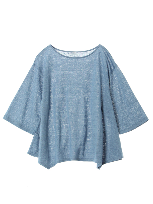 Denim linen s/s top